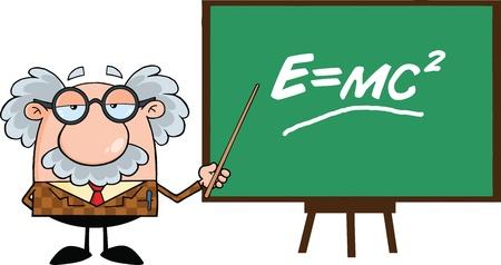 Lustige Professor mit Zeiger Presenting Einstein Formel