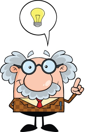 Professor With Good Idea Stock Illustratie