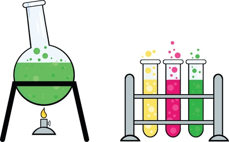 green chemistry: Pieces Of Equipment From A Chemistry Laboratory Illustration