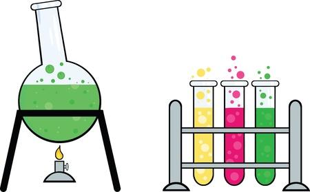 Piezas de equipo de un laboratorio de química Ilustración de vector