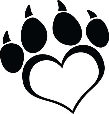Black Love Paw Print With Claws Vector