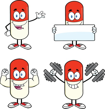 Pill Capsule Cartoon Mascot Characters  Set Collection 1 Stock Vector - 21699446