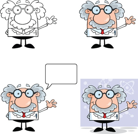 Funny Scientist Or Professor Cartoon Characters  Set Collection 1 Vettoriali
