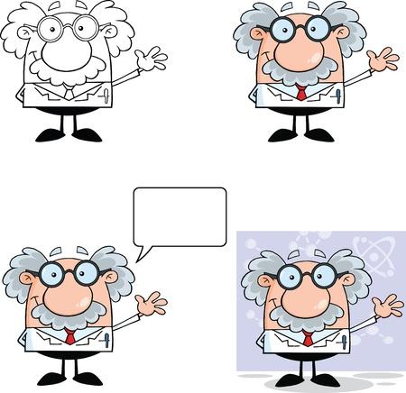Funny Scientist Or Professor Cartoon Characters  Set Collection 1 Ilustração