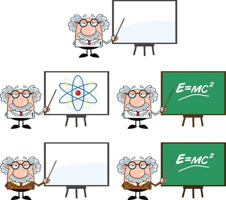 Funny Scientist Or Professor Cartoon Characters  Set Collection 2 Stok Fotoğraf - 21699455