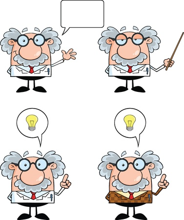 Funny Scientist Or Professor Cartoon Characters  Set Collection 3 Иллюстрация