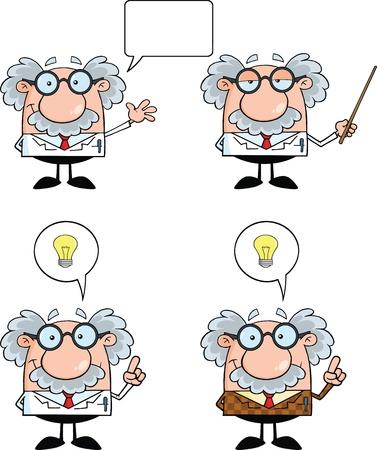 Lustige Wissenschaftler oder Professor Cartoon Characters Set Collection 3 Illustration