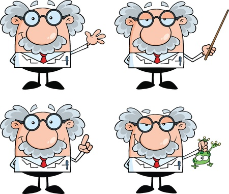 science scientific: Funny Scientist Or Professor Cartoon Characters  Set Collection 4