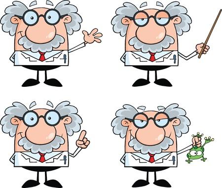 Lustige Wissenschaftler oder Professor Cartoon Characters Set Collection 4