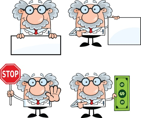 Funny Scientist Or Professor Cartoon Characters  Set Collection 5 Illustration