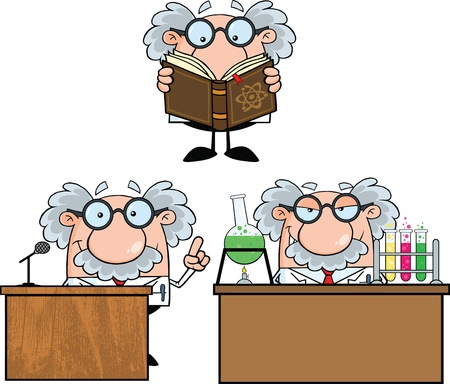 science scientific: Funny Scientist Or Professor Cartoon Characters  Set Collection 6 Illustration