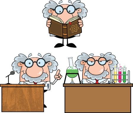 Lustige Wissenschaftler oder Professor Cartoon Characters Set Collection 6