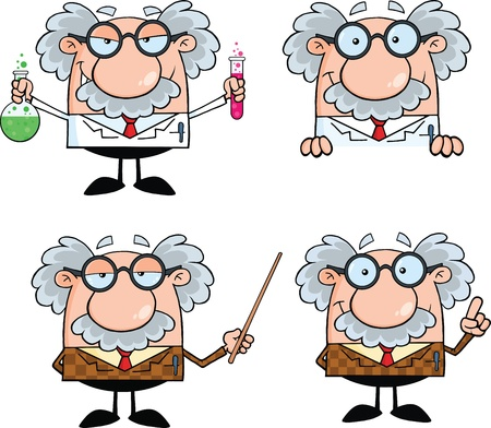 Funny Cartoon naukowiec lub profesor ustawiono znaki Kolekcja 7 Ilustracje wektorowe