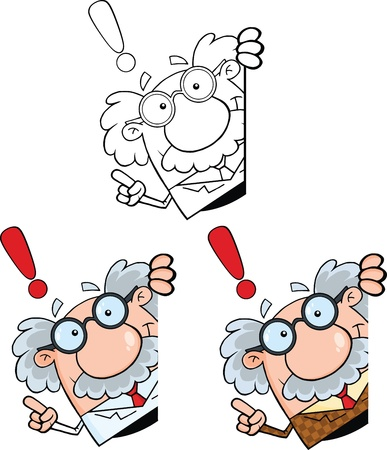 doctor dibujo animado: Divertido científico o profesor personajes de dibujos animados conjunto de recopilación 8 Vectores