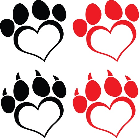 Red Love Paw Print With Claws  Set Collection Vector