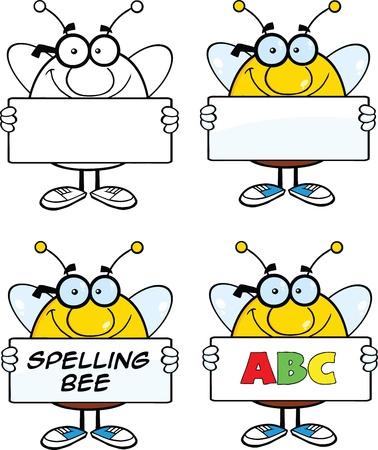 Bande dessinée d'abeille mascottes Set Collection 4