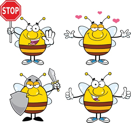 Bee Cartoon Mascot Characters  Set Collection 6 Vector