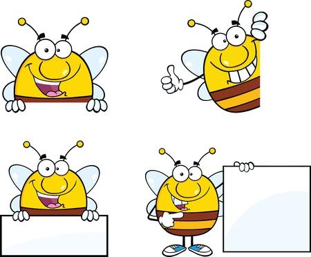 pollinator: Bee Cartoon Mascot Characters  Set Collection 7 Illustration
