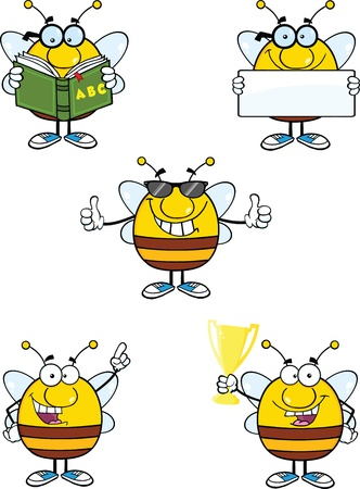Bee Cartoon Mascot Characters  Set Collection 8 Vector