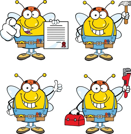 Bee Cartoon Mascot Characters  Set Collection 9 Vector