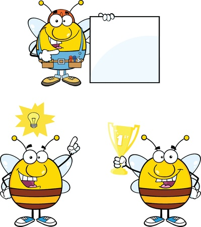 Bee Cartoon Mascot Characters  Set Collection 10 Vector