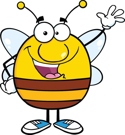 Happy Pudgy Bee Cartoon Mascot Character Waving For Greeting