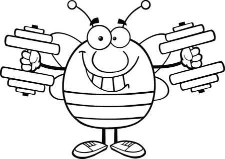 pollinator: Black And White Pudgy Bee Cartoon Mascot Character Training With Dumbbells Illustration