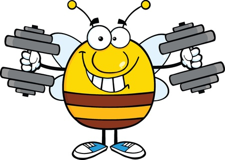 pollinator: Smiling Pudgy Bee Cartoon Mascot Character Training With Dumbbells