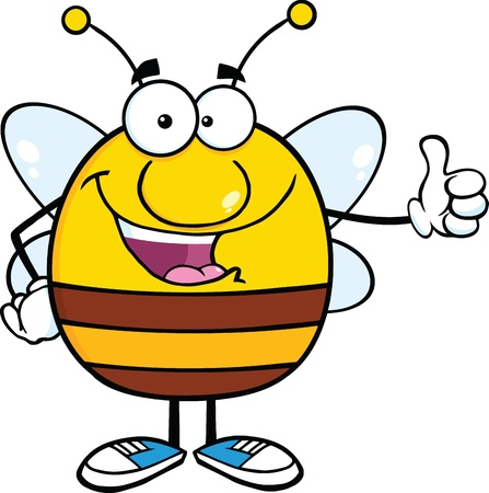 pollinator: Happy Pudgy Bee Cartoon Mascot Character Giving A Thumb Up