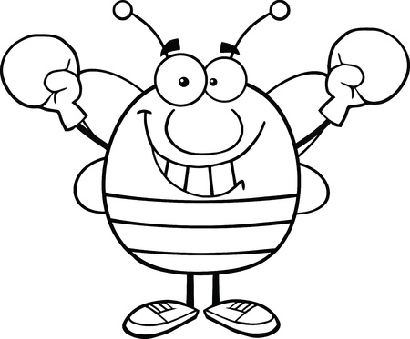 Black And White Pudgy Bee Cartoon Mascot Character Wearing Boxing Gloves Vector