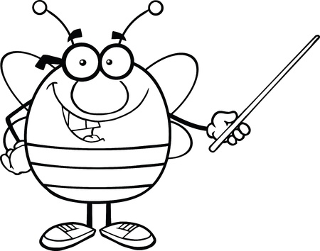 pollinator: Black And White Pudgy Bee Cartoon Mascot Character With Glasses Holding A Pointer