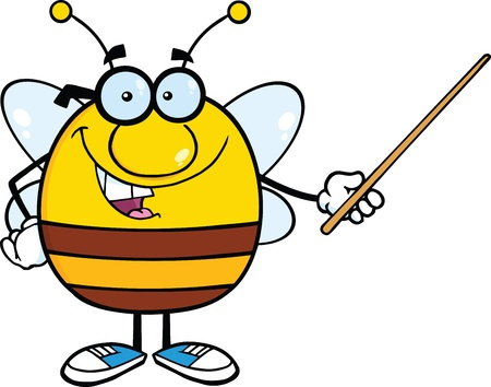 stick bug: Pudgy Bee Cartoon Mascot Character With Glasses Holding A Pointer