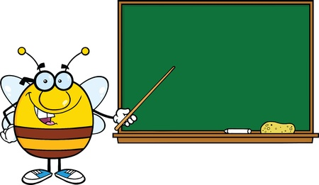 Pudgy Bee Cartoon Mascot Character With Glasses With A Pointer In Front Of Blackboard