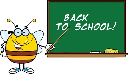 bumble bee: Pudgy Bee Cartoon Character With Glasses With A Pointer In Front Of Blackboard