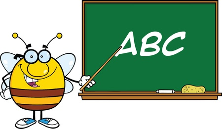 pollinator: Pudgy Bee Cartoon Character With Glasses With A Pointer In Front Of Blackboard With Text