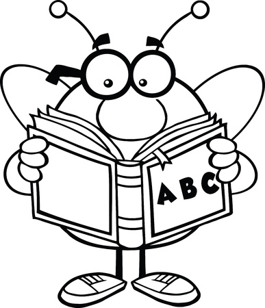 pollinator: Black And White Pudgy Bee Cartoon Mascot Character With Glasses Reading A ABC Book
