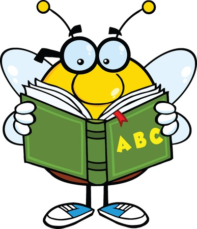 Pudgy Bee Cartoon Mascot Character With Glasses Reading A ABC Book Vector