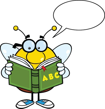 pollinator: Pudgy Bee Cartoon Character With Glasses Reading A ABC Book Illustration