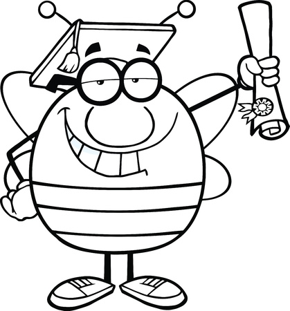 pollinator: Black And White Pudgy Bee Cartoon Character Graduate Holding Up A Diploma