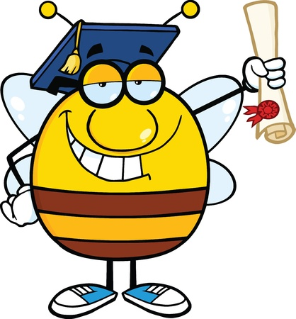 pollinator: Smiling Pudgy Bee Cartoon Mascot Character Graduate Holding Up A Diploma
