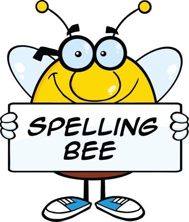 テキスト バナーを保持しているずんぐりした蜂漫画マスコット キャラクターの笑みを浮かべてください。