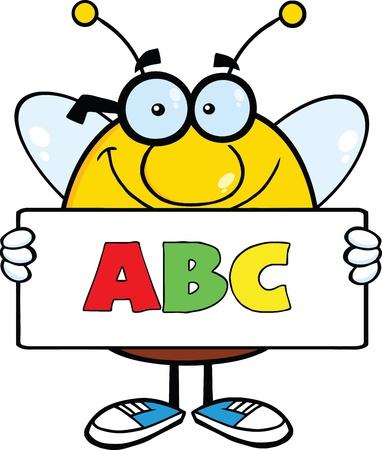 ABC のテキストとバナーを保持しているずんぐりした蜂の漫画のキャラクターの笑みを浮かべてください。