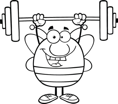 Black And White Pudgy Bee Cartoon Mascot Character Lifting Weights Vectores