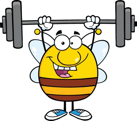 Feliz rechoncho Bee Cartoon Mascot Character levantamiento de pesas