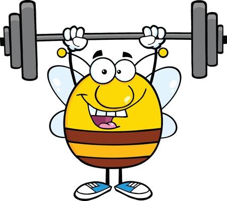 Glückliche Pudgy Bee Cartoon-Maskottchen-Buchstaben-anhebende Gewichte