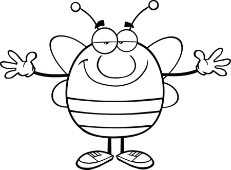 pollinator: Black And White Pudgy Bee Cartoon Mascot Character With Open Arms For Hugging Illustration