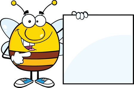Pudgy Bee Cartoon Mascot Character Showing A Blank Sign