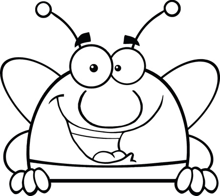 pollinator: Black And White Pudgy Bee Cartoon Character Over Blank Sign Illustration