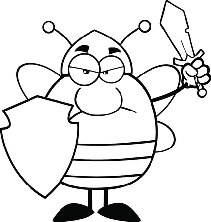 Black And White Angry Pudgy Bee Warrior With Shield And Sword Vector