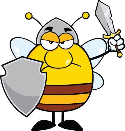 abeja reina: Angry Bee rechoncho guerrero con escudo y espada Vectores